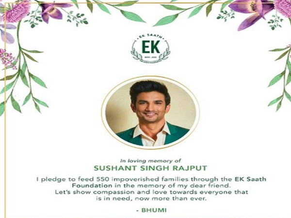 Bhumi Pednekar's remembrance post for Sushant Singh Rajput (Image Source: Instagram)