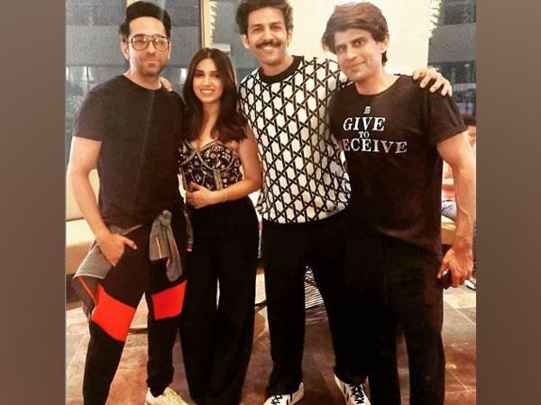 Bhumi Pednekar with Ayushmann Khurrana and Kartik Aaryan (Image Courtesy: Instagram)