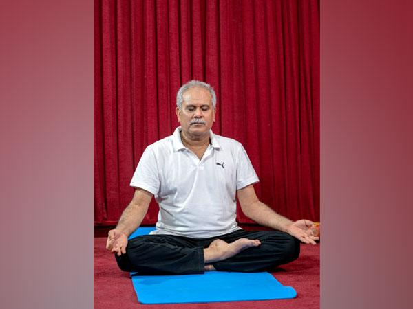 Chhattisgarh Chief Minister Bhupesh Baghel performing Yoga in Raipur. (Photo/ANI)