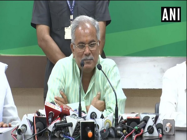 Chhattisgarh Chief Minister Bhupesh Baghel addressing a presser on Monday in Raipur.