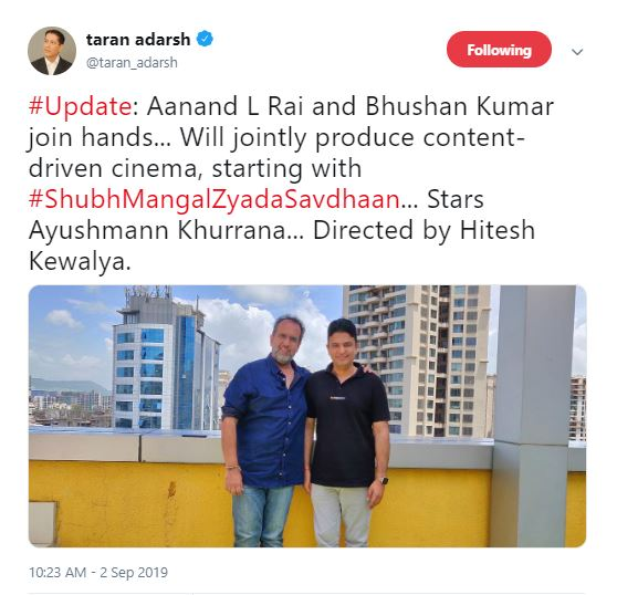 Image result for Aanand L Rai Collaborates With Bhushan Kumar To Jointly Produce Content-Driven Cinema