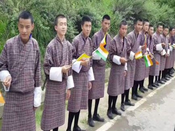 School children lined the streets waving Indian and Bhutanese flags to PM Narendra Modi on Saturday (Photo Credits: MEA Twitter)