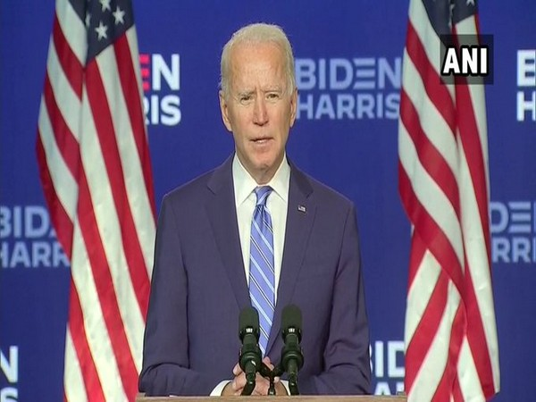 US Democratic presidential nominee Joe Biden speaking to media on Wednesday.