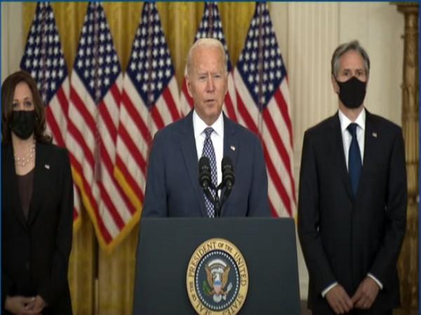 US President Joe Biden adressing a press brefing on Friday.