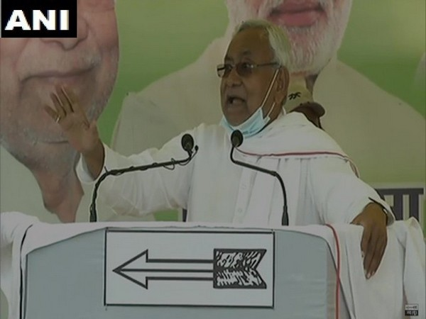 Bihar Chief Minister Nitish Kumar during an election rally in Hilsa, Nalanda on Tuesday. (Photo/ANI)