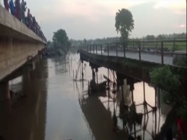 Portion of a bridge collapsed in Bihar's Araria district on Tuesday. (Photo/ANI)