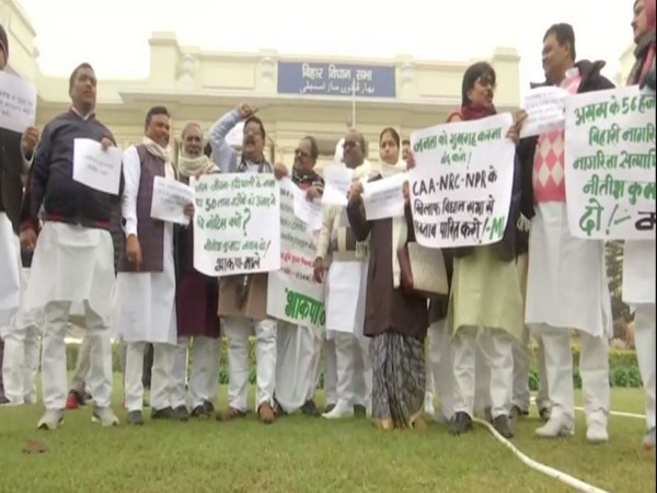 Opposition MLAs protest outside Bihar Legislative Assembly against CAA, NRC and NPR. Photo/ANI