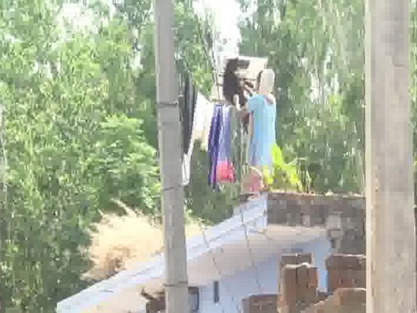 Visuals from Bikanpur village on Monday. Photo/ANI