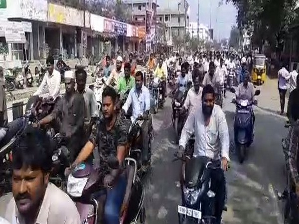 AJAC taking out a bike rally in Krishna on Tuesday. Photo/ANI
