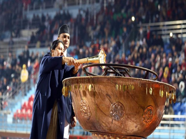 Nepal's President Bidhya Devi Bhandari torched up Unity Lamp at Dasaratha Stadium.