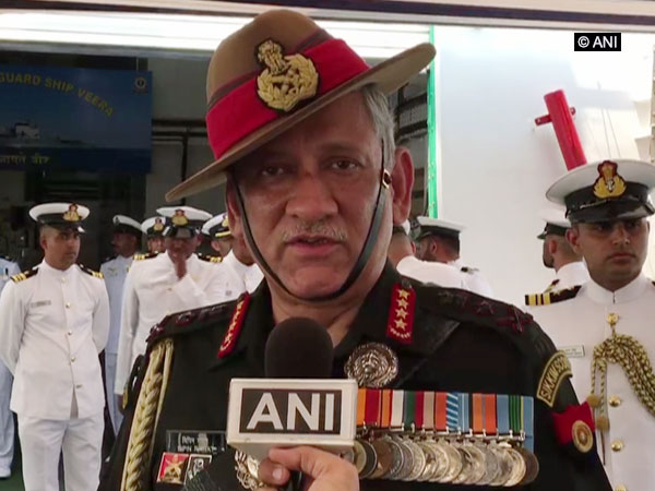 Indian Army Chief General Bipin Rawat speaking to ANI in Visakhapatnam, Andhra Pradesh on Monday. Photo/ANI