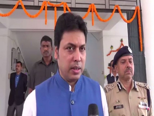 Tripura Chief Minister Biplab Kumar Deb speaking to reporters in Gakulnagar on Tuesday. Photo/ANI