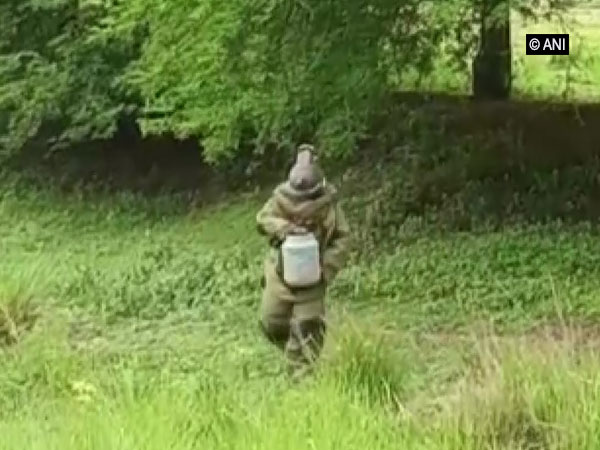 Police recovering one of the live bombs in Birbhum district of West Bengal on Saturday.