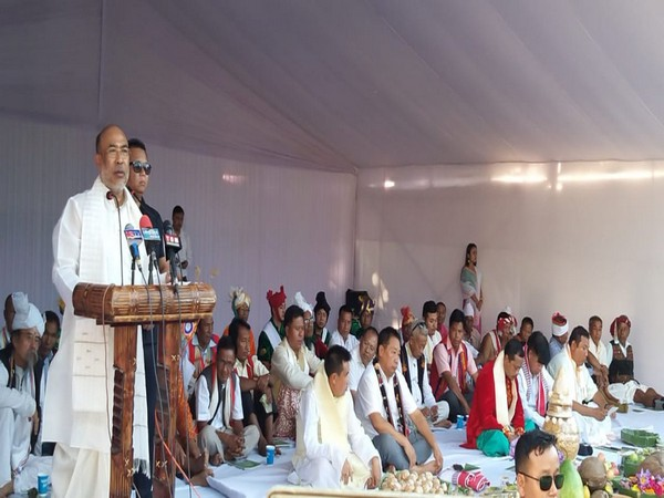 Manipur Chief Minister N Biren Singh addressing an event at the historic Kangla Fort on the occasion of Mera Houchongba festival on Sunday. (Photo/ANI)