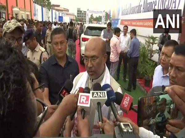 Manipur CM N Biren Singh speaking to reporters in Assam on Monday. Photo/ANI