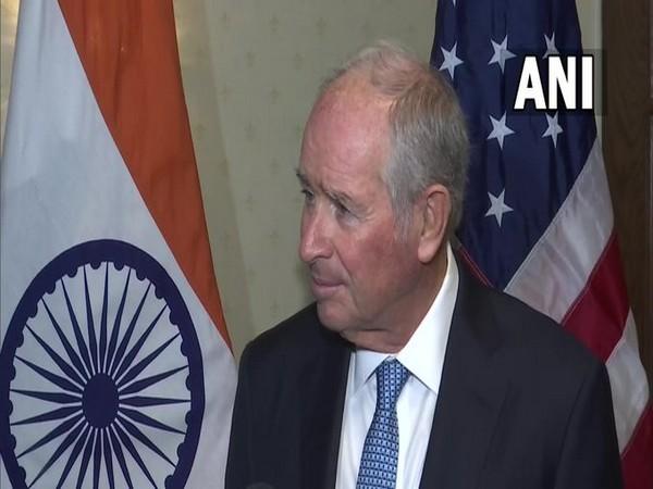 Blackstone CEO Stephen Schwarzman talking to reporters after meeting Prime Minister Narendra Modi.
