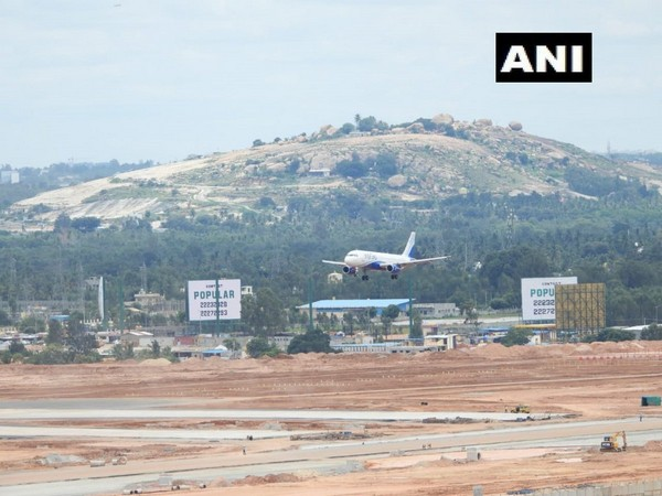 A plane landing on the new South Runway at Kempegowda International Airport in Bengaluru on Tuesday.
