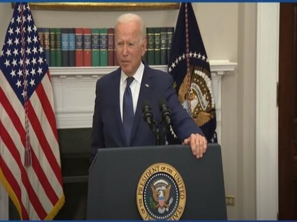 US President Joe Biden during a White House address on Sunday.