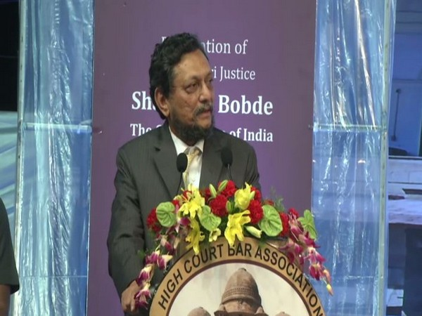 CJI Sharad Arvind Bobde speaking at his felicitation ceremony in Nagpur on Saturday. Photo/ANI
