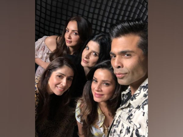Filmmaker Karan Johar with Seema Khan, Maheep Kapoor, Bhavana Pandey, and Neelam Kothari (Image Source: Instagram)
