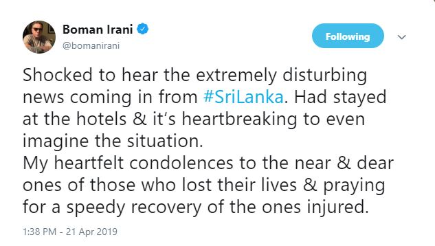 Bollywood celebrities condemn the serial blasts in Sri Lanka