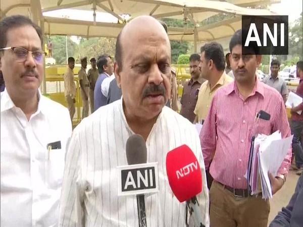 Basavaraj Bommai speaking to reporters in Bengaluru on Friday.