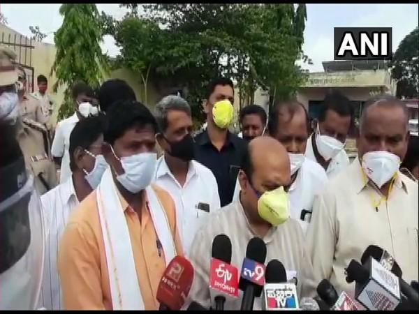 Karnataka Home Minister Basavaraja Bommai at the spot. (Photo/ ANI)