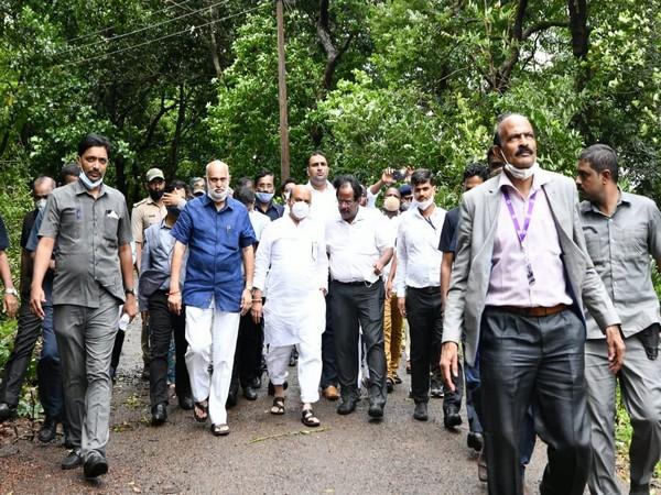 Karnataka Chief Minister Basavaraj Bommai visits flood-hit Uttara Kannada. (Photo/ANI)
