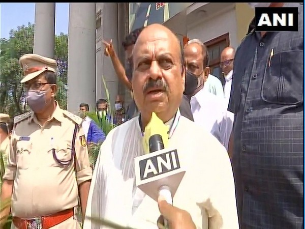 Karnataka Home Minister Basavaraj Bommai speaking to reporters in Bengaluru on Saturday.
