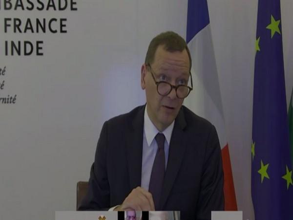 French President Emmanuel Macron's top advisor Emmanuel Bonne speaking at an event in New Delhi.