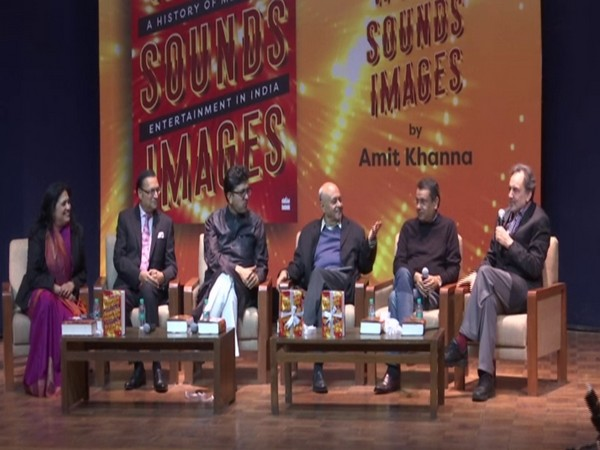 Panelists discussing different facets of the book titled 'Words Sounds Images: A History of Media and Entertainment in India' which was launched in New Delhi on Friday. Photo/ANI