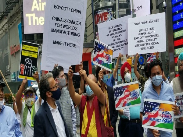 Indians in Americans holding demonstration to 'Boycott China'. Photo/ANI