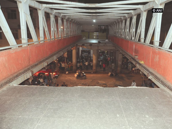 The foot over bridge (FOB) near iconic CSMT railway station collapsed in Mumbai. (Photo/ANI)