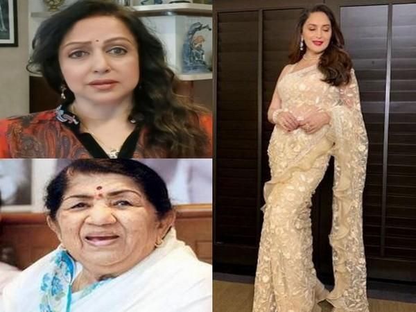 Veteran Bollywood celebrities Lata Mangeshkar Hema Malini, and Madhuri Dixit (Image Source: Social media)