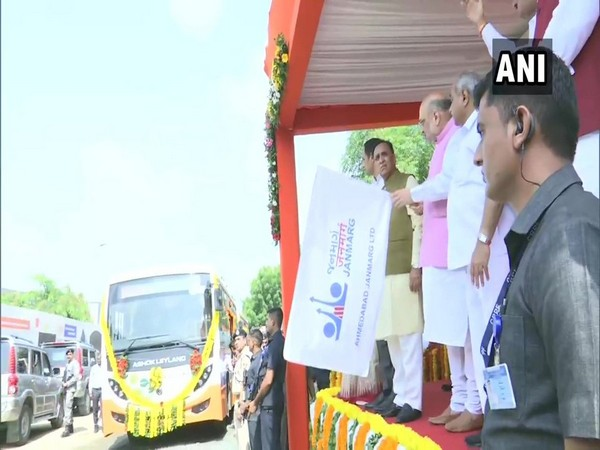 Union Home Minister Amit Shah flagging off eight eco-friendly buses in Ahmedabad on Thursday.