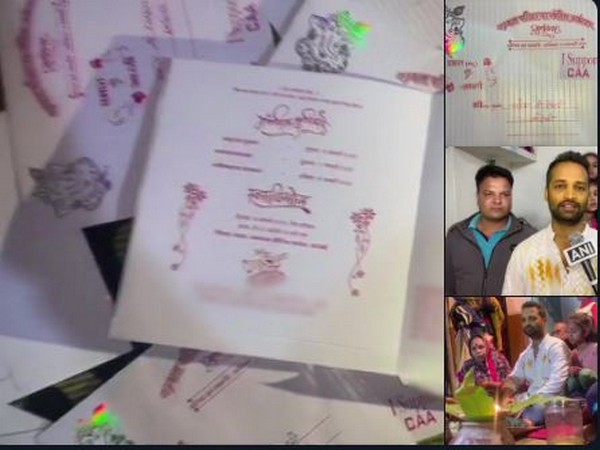 MP couple's wedding card in support of CAA. (Photo/ANI)