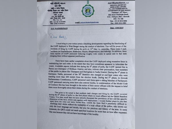 Letter written by West Bengal government to CEO on Tuesday. Photo/ANI