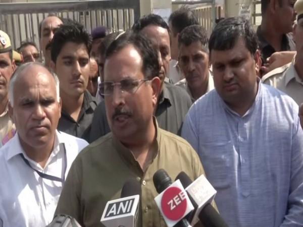 Bharatiya Janata Party (BJP) Captain Abhimanyu speaks to media in Hisar [Photo/ANI]