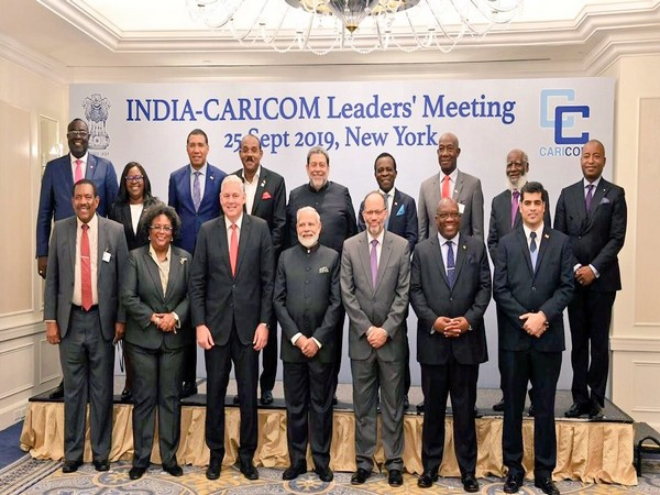 Prime Minister Narendra Modi with leaders of CARICOM nations in New York (Picture Credits: Raveesh Kumar/Twitter)