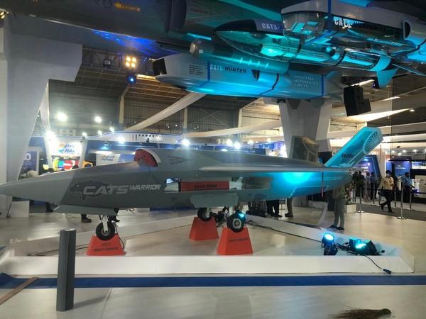 The model of futuristic combat drone CATS WARRIOR at Aero India-2021 (Photo/ANI)