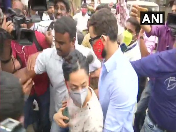 Actors Diganth and Aindrita Ray arrive at CCB office in Bengaluru on Wednesday. Photo/ANI