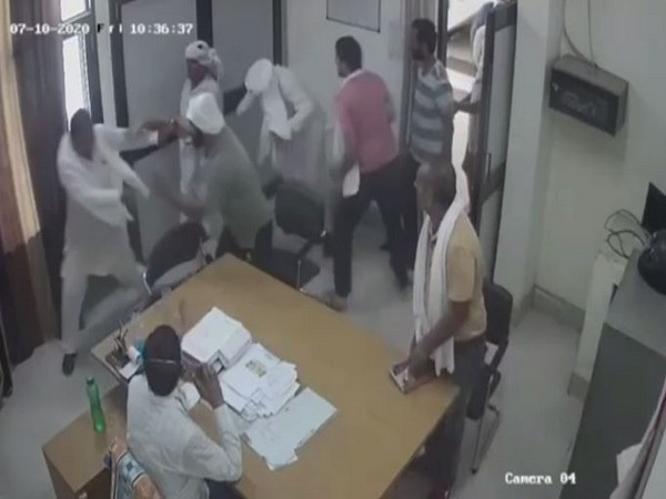 A still-shot of the CCTV footage of goons attacking the villagers at SDO office in Munak, Haryana