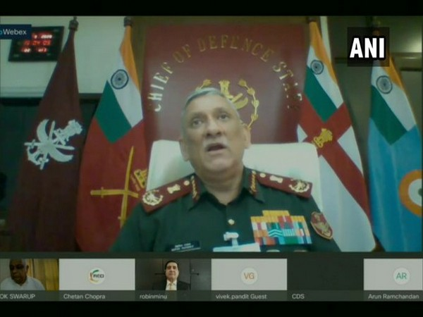 Chief of Defence Staff General Bipin Rawat speaking at an e-symposium on 'Catalysing Defence Exports' via video conferencing on Wednesday.