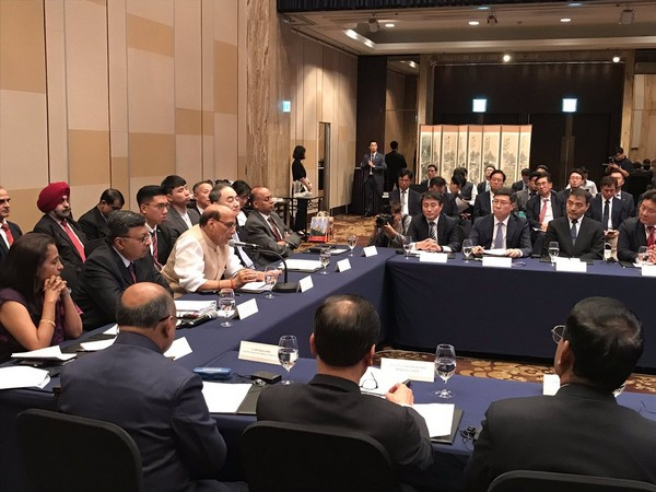 Union Defence Minister Rajnath Singh attending a CEO's Forum in Seoul (Picture Credits: Rajnath Singh/Twitter)