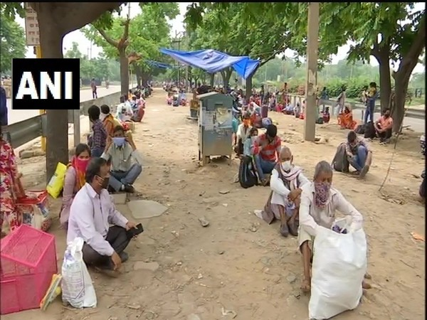 Migrant workers sitting at ISBT, Sector-43 in Chandigarh. (Photo/ANI)