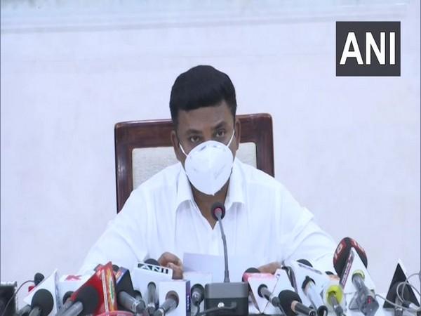 Raipur district collector S Bharathi Dasan speaking to media on Wednesday.