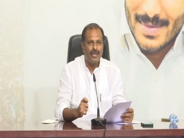 Andhra Pradesh Government Chief Whip Gadikota Srikanth Reddy during a press briefing on Friday. (Photo/ANI)