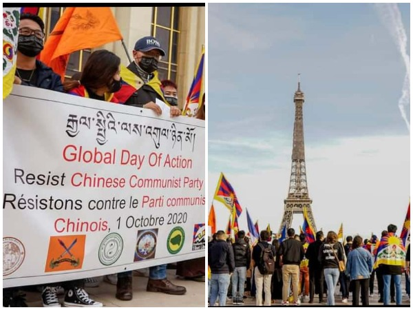 Demonstrators at the Trocadero square near the Eiffel Tower in Paris protesting against human rights violations by China.