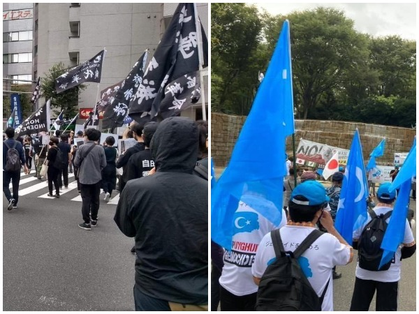 Protesters in Japan marching against China's ongoing human rights violations on Tibetans, Uyghurs, Mongolians, Hong Kongers and Taiwanese.