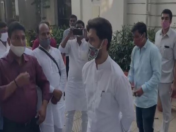 Lok Janshakti Party (LJP) chief Chirag Paswan talking to party workers in New Delhi on Wednesday. (Photo/ANI)